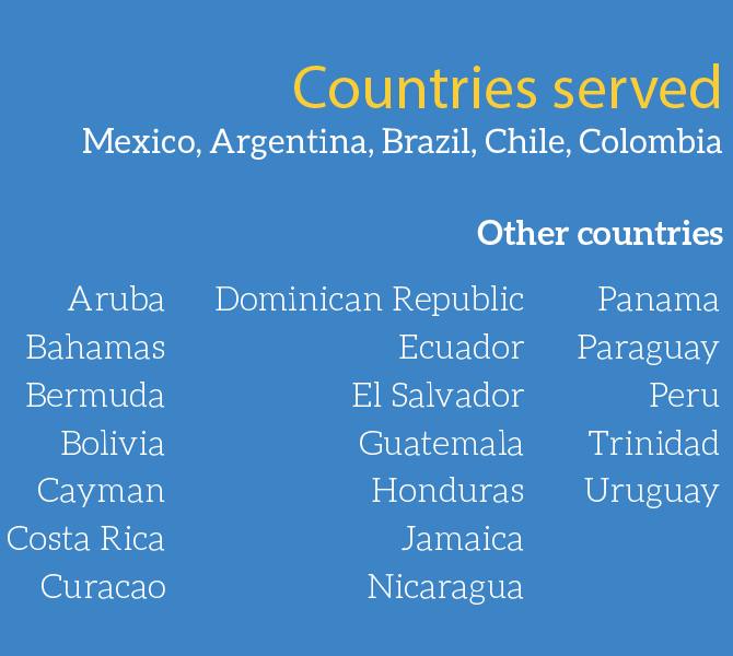 Latin America Delivery List Locations