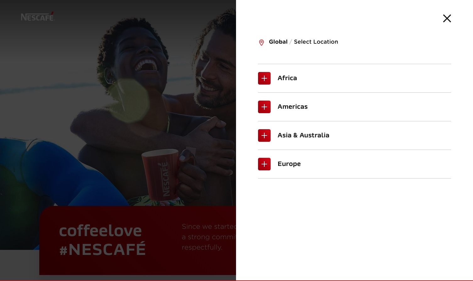 Nescafé simplifies localization for website visitors.