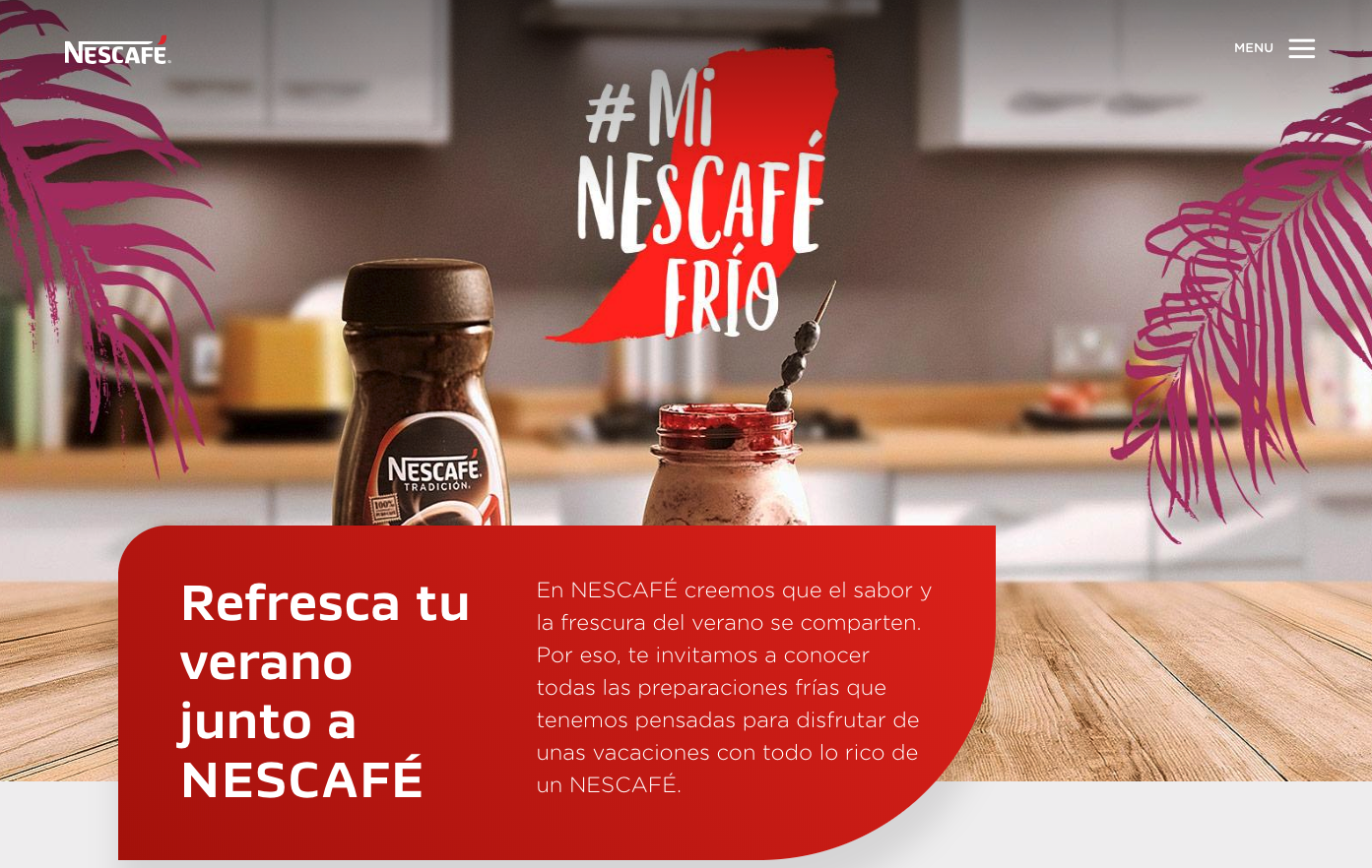 Nescafé's Chilean home page differs from other countries like the U.S.