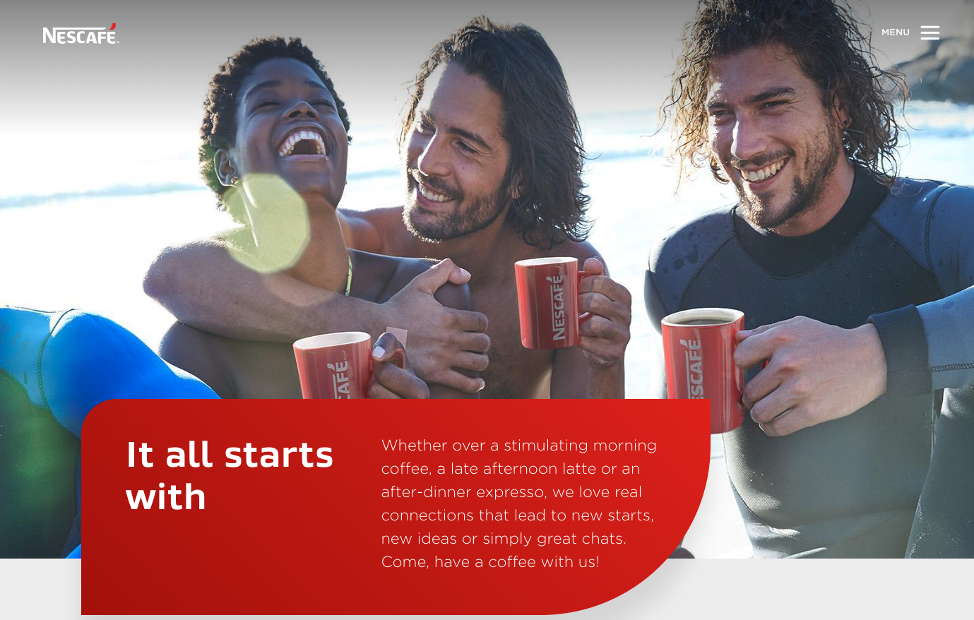 Nescafé's U.S. home page is also unique compared to other countries.